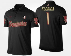 No.1 Short Sleeve Florida State Seminoles Polo Men #1 Black Name and Number