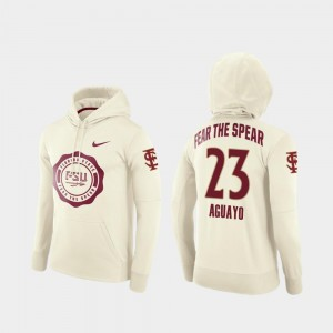 For Men #23 College Football Pullover Ricky Aguayo Florida State Hoodie Cream Rival Therma