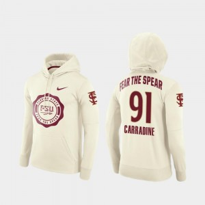 College Football Pullover Cream Men's Tank Carradine FSU Hoodie #91 Rival Therma