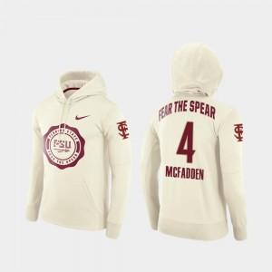 Tarvarus McFadden Seminoles Hoodie #4 Men's Cream College Football Pullover Rival Therma