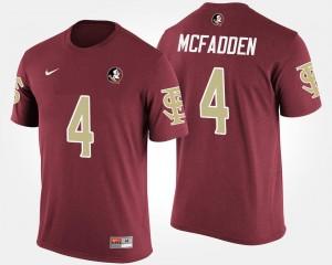 #4 Name and Number Garnet For Men Tarvarus McFadden Seminoles T-Shirt
