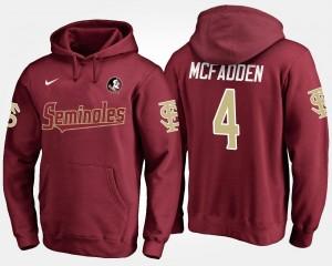 Name and Number Mens #4 Garnet Tarvarus McFadden FSU Seminoles Hoodie