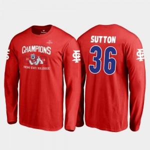 Cam Sutton Fresno State T-Shirt Mens #36 2018 Las Vegas Bowl Champions Blitz Long Sleeve Fanatics Branded Red