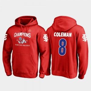 For Men's Red Chris Coleman Fresno State Hoodie 2018 Las Vegas Bowl Champions Fanatics Branded Blitz #8