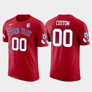 Cotton Football #00 For Men's Future Stars Red Fresno State Custom T-Shirt
