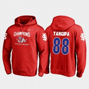 2018 Las Vegas Bowl Champions Mens David Tangipa Fresno State Bulldogs Hoodie #88 Fanatics Branded Blitz Red