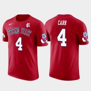 Derek Carr Fresno State T-Shirt #4 Men Oakland Raiders Football Red Future Stars