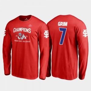 Mens Red Derrion Grim Fresno State T-Shirt #7 Blitz Long Sleeve Fanatics Branded 2018 Las Vegas Bowl Champions