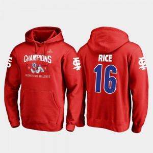 For Men's #16 Jared Rice Fresno State Hoodie Fanatics Branded Blitz Red 2018 Las Vegas Bowl Champions