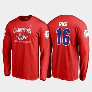 Jared Rice Fresno State T-Shirt #16 Red 2018 Las Vegas Bowl Champions Mens Blitz Long Sleeve Fanatics Branded