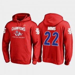 Red Fanatics Branded Blitz Jordan Mims Fresno State Bulldogs Hoodie 2018 Las Vegas Bowl Champions Mens #22