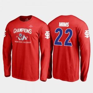 2018 Las Vegas Bowl Champions Jordan Mims Fresno State T-Shirt Blitz Long Sleeve Fanatics Branded #22 For Men's Red