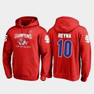 For Men Jorge Reyna Fresno State Bulldogs Hoodie 2018 Las Vegas Bowl Champions #10 Red Fanatics Branded Blitz