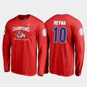 For Men Jorge Reyna Fresno State T-Shirt 2018 Las Vegas Bowl Champions Blitz Long Sleeve Fanatics Branded #10 Red