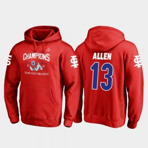 Red 2018 Las Vegas Bowl Champions Fanatics Branded Blitz Mens #13 Justin Allen Fresno State Bulldogs Hoodie