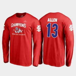 #13 Justin Allen Fresno State Bulldogs T-Shirt Mens 2018 Las Vegas Bowl Champions Blitz Long Sleeve Fanatics Branded Red