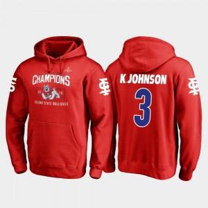 Men's Red 2018 Las Vegas Bowl Champions Fanatics Branded Blitz #3 KeeSean Johnson Fresno State Bulldogs Hoodie