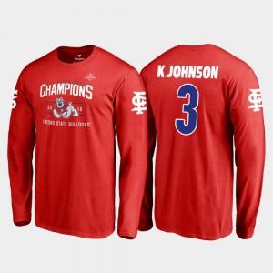 Red Blitz Long Sleeve Fanatics Branded 2018 Las Vegas Bowl Champions #3 Mens KeeSean Johnson Fresno State Bulldogs T-Shirt