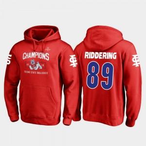 2018 Las Vegas Bowl Champions Fanatics Branded Blitz Red #89 Mens Kyle Riddering Fresno State Bulldogs Hoodie