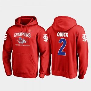 2018 Las Vegas Bowl Champions Red #2 For Men Fanatics Branded Blitz Michiah Quick Fresno State Hoodie