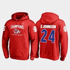Saevion Johnson Fresno State Bulldogs Hoodie Fanatics Branded Blitz #24 2018 Las Vegas Bowl Champions Red Men
