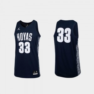 Men College Basketball Navy Georgetown University Jersey #33 Replica Jordan Brand