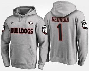 UGA Bulldogs Hoodie Name and Number #1 Men's Gray No.1