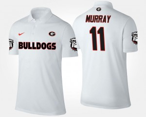 White For Men #11 Aaron Murray University of Georgia Polo Name and Number