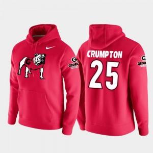 #25 Mens Ahkil Crumpton Georgia Bulldogs Hoodie Vault Logo Club Red College Football Pullover