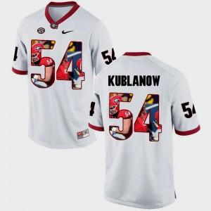 #54 Men Brandon Kublanow UGA Bulldogs Jersey Pictorial Fashion White
