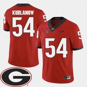 #54 Red 2018 SEC Patch College Football Brandon Kublanow University of Georgia Jersey Men's