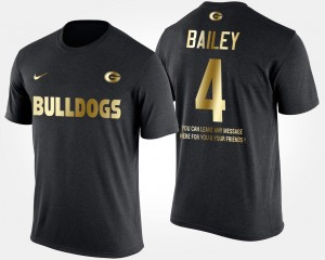 Gold Limited Champ Bailey UGA Bulldogs T-Shirt Mens Short Sleeve With Message #4 Black