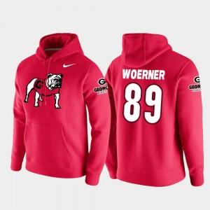 Mens #89 Vault Logo Club Red College Football Pullover Charlie Woerner Georgia Bulldogs Hoodie