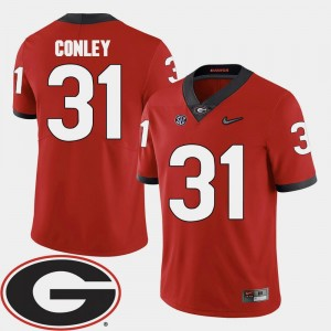 Chris Conley Georgia Jersey 2018 SEC Patch #31 Red Mens College Football