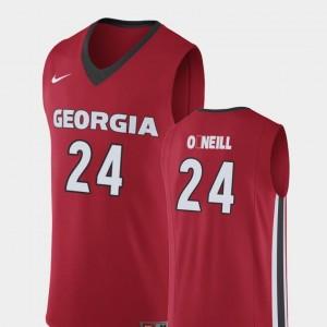 College Basketball #24 Replica Mens Connor O'Neill Georgia Bulldogs Jersey Red