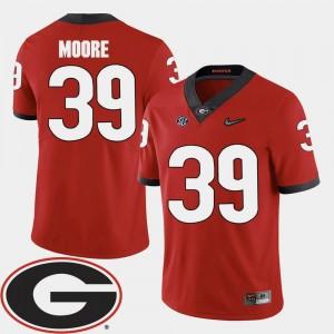 2018 SEC Patch College Football #39 Corey Moore University of Georgia Jersey Red Men