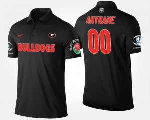 For Men Bowl Game #00 Black UGA Custom Polo Southeastern Conference Rose Bowl Name and Number