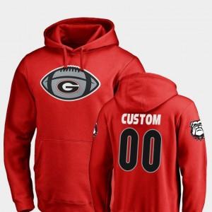 Red Game Ball #00 For Men UGA Bulldogs Custom Hoodies Fanatics Branded Football