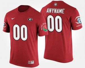 Men's Bowl Game #00 UGA Customized T-Shirt Southeastern Conference Rose Bowl Name and Number T shirt Red