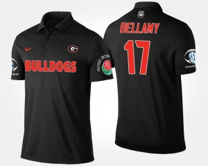 Bowl Game Davin Bellamy University of Georgia Polo #17 Men's Black Southeastern Conference Rose Bowl Name and Number