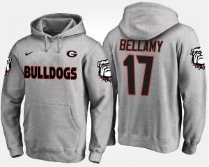 Men Gray #17 Name and Number Davin Bellamy UGA Bulldogs Hoodie
