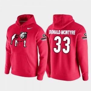 Mens #33 Ian Donald-McIntyre UGA Bulldogs Hoodie Red Vault Logo Club College Football Pullover