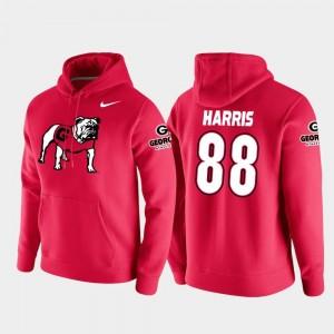 Vault Logo Club For Men's Red #88 College Football Pullover Jackson Harris Georgia Bulldogs Hoodie