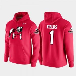 Red Men's College Football Pullover #1 Vault Logo Club Justin Fields UGA Bulldogs Hoodie