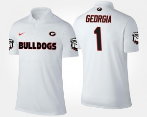 For Men Name and Number Georgia Polo No.1 Short Sleeve White #1