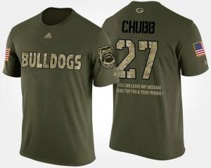 #27 Military Men Camo Nick Chubb University of Georgia T-Shirt Short Sleeve With Message