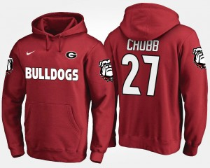 Men's Name and Number Red Nick Chubb UGA Hoodie #27