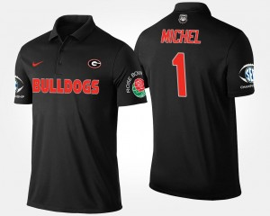 Mens Bowl Game Sony Michel UGA Bulldogs Polo #1 Southeastern Conference Rose Bowl Name and Number Black