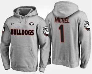 Gray Sony Michel University of Georgia Hoodie For Men's #1 Name and Number