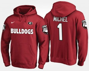 Name and Number Red For Men Sony Michel University of Georgia Hoodie #1